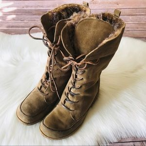 Sam Edelman Tall Suede Lace Up Faux Fur Boots 8.5